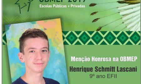 O Colégio São José se orgulha e parabeniza nosso aluno Henrique Schmitt Lascani
